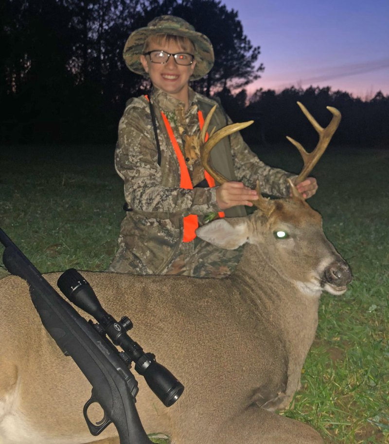 Reid Edwards from Starkville with a buck he harvested last year.