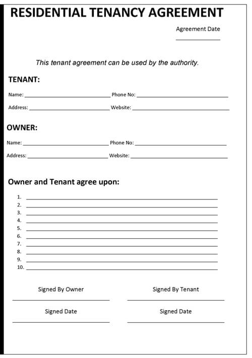 Doc830535 Sample Tenancy Agreements Tenancy Contract Template – Tenancy Inventory Template