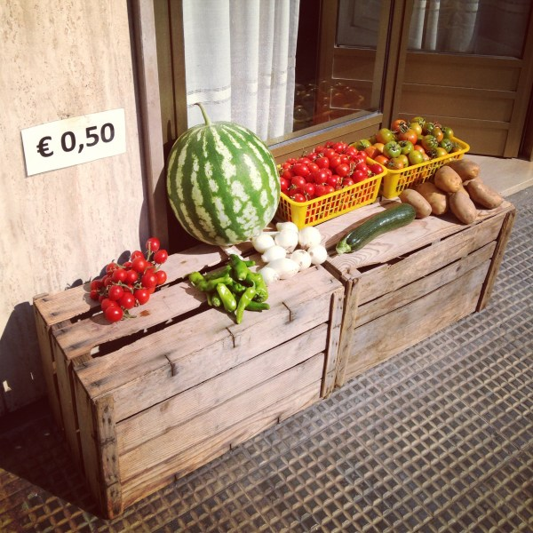 Sidewalk sale in Puglia, Italy, on Ms. Adventures in Italy by Sara Rosso