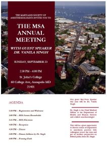 MSA 2018 Annual Meeting – Guest Speaker Announcement and Agenda