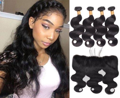 Brazilian Body Wave Hair 4 Bundles With Lace Frontal Virgin Human Hair