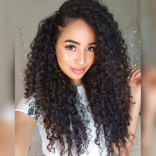 Brazilian Curly Weave Virgin Human Hair 4 Bundles With Closure