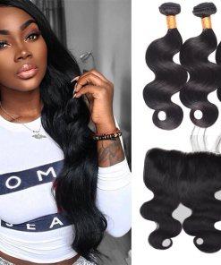 Peruvian Body Wave Hair 3 Bundles With Lace Frontal Virgin Human Hair
