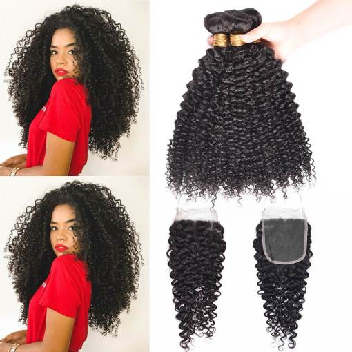 Peruvian Curly Weave Hair 3 Bundles With Closure