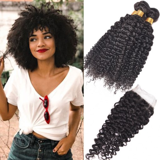 Peruvian Curly Weave Virgin Human Hair 4 Bundles With Closure