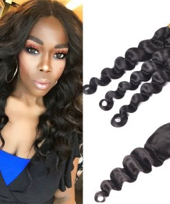 Peruvian Loose Deep Wave Hair 3 Bundles With Closure