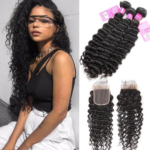 deep wave virgin human hair bundles with lace closure