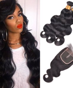 Indian Body Wave Hair 4 Bundles With Lace Closure