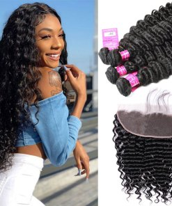 Indian Deep Wave Hair 4 Bundles With Lace Frontal