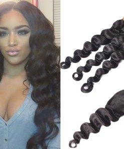 Indian Loose Deep Wave Hair 3 Bundles With Closure