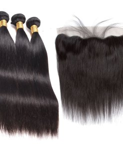 straight human hair with lace frontal