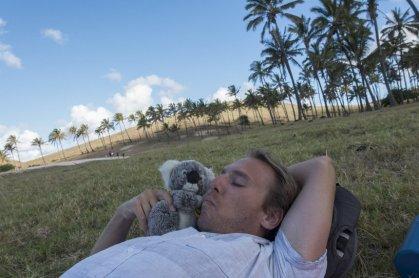 A l'heure de la sieste à l'ombre d'un palmier