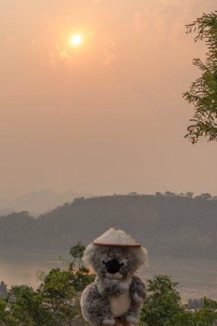 Coucher de soleil sur le Mékong à Luang Prabang