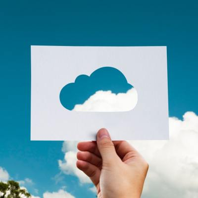Cloud with cloud cutout representing cloud computing