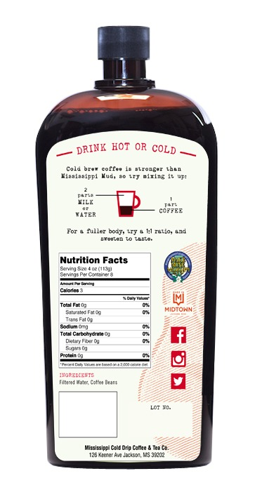 Cold Brew 32 ounce back label