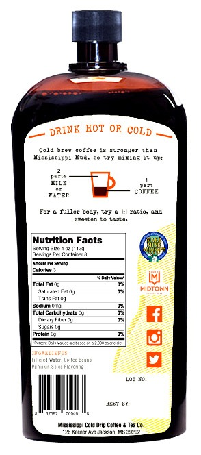 Mississippi Cold Drip cold brew coffee concentrate Pumpkin Spice label