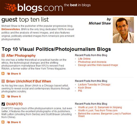 Blogs.com - Top 10 Visual Politics/Photojournalism Blogs