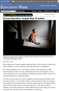 M. Scott Brauer for Education Week - Virtual Education Targets Rise of Autism - 17 August 2011