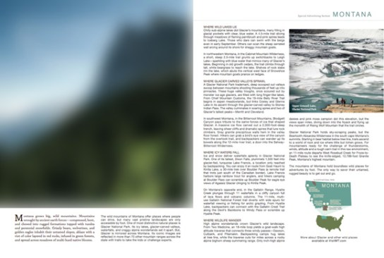State of Montana Office of Tourism Glacier National Park advertisement - Backpacker magazine