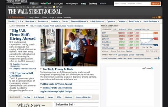 Wall Street Journal website, 18 April 2011