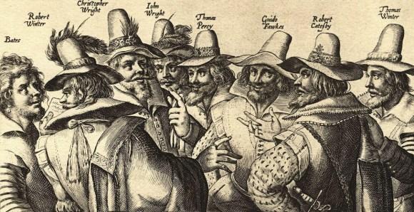Guy Fawkes ve darbe heyetini temsilen o dönemde çizilmiş bir illüstrasyon.