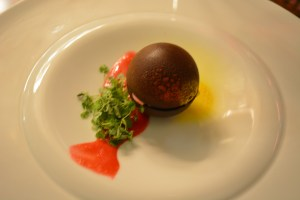 Chocolate sphere. I enjoyed the inside of this although the shell was a bit of a challenge to break through