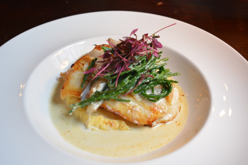 Pan-fried halibut with swede puree, samphire and razor clams