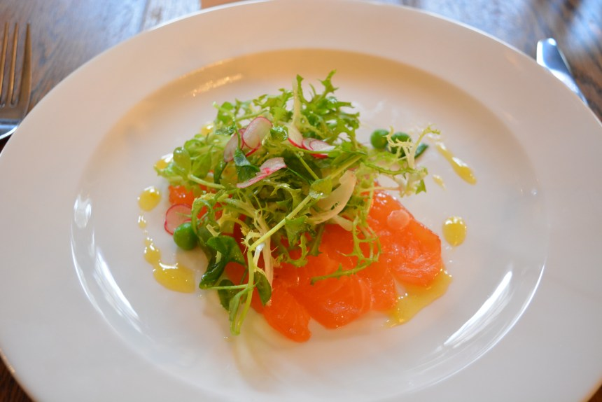 Cured Salmon with Salmon, Fennel, Radish and Pea Salad