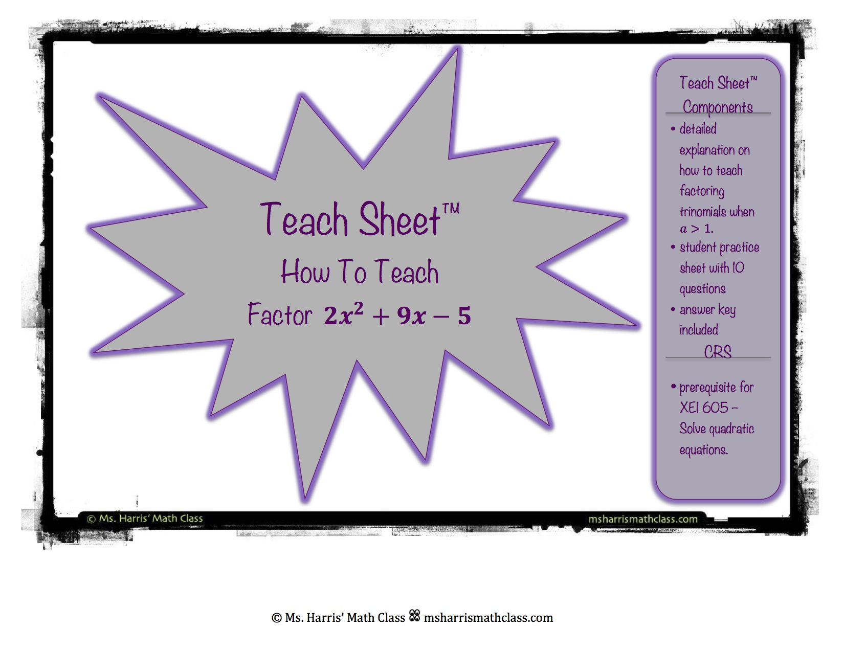 Teach Sheet How To Teach Factoring Complex Trinomials