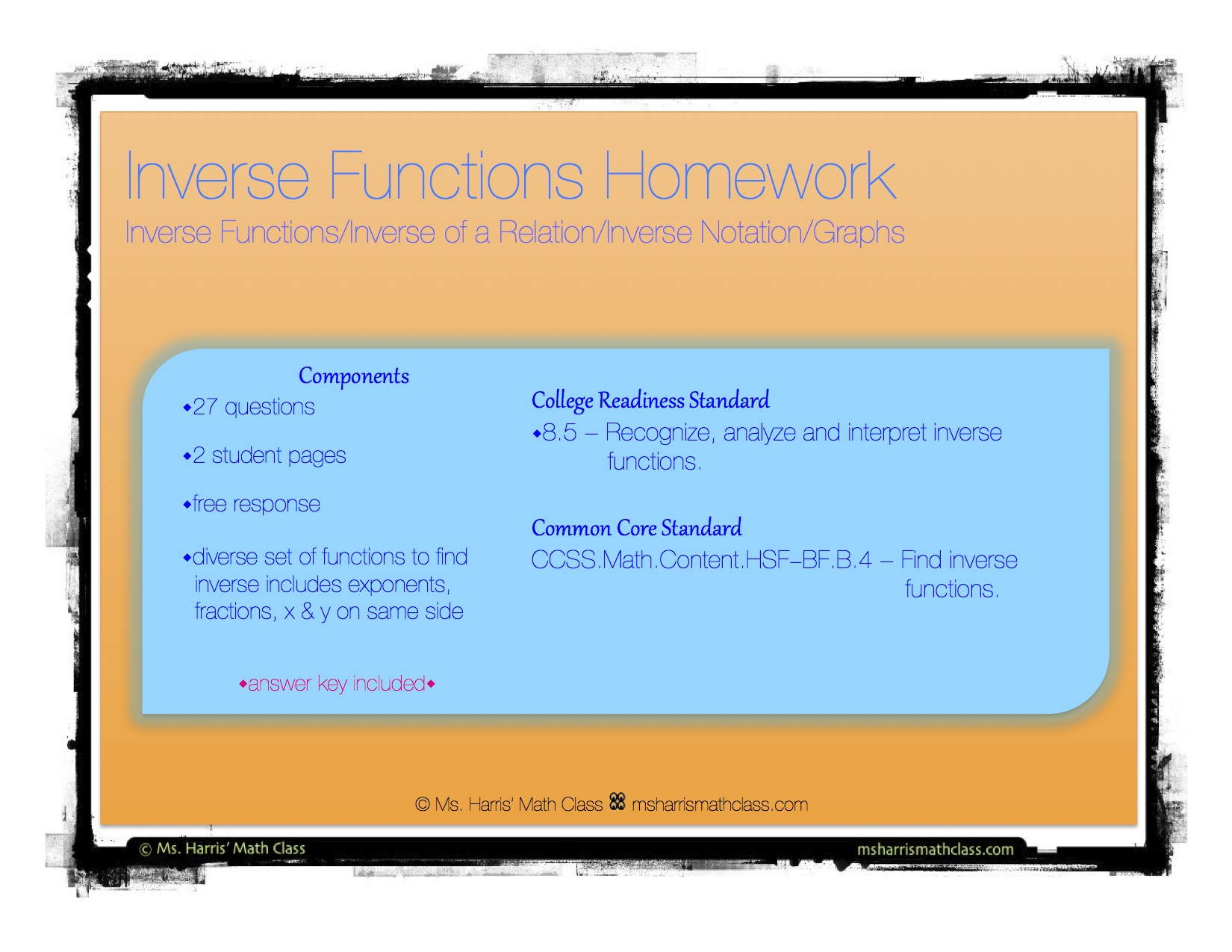 Inverse Functions Homework Worksheets