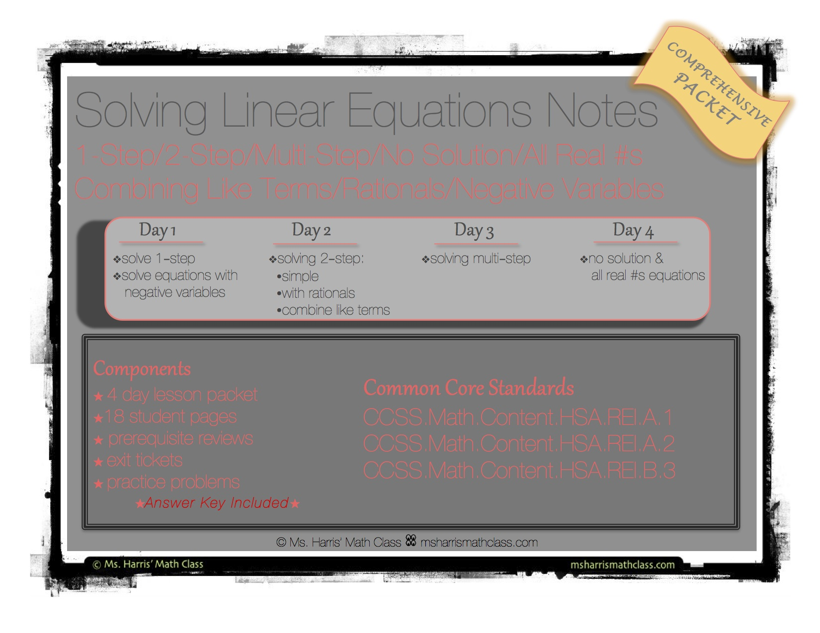 Linear Equations Solve Interactive Student Notes Packet