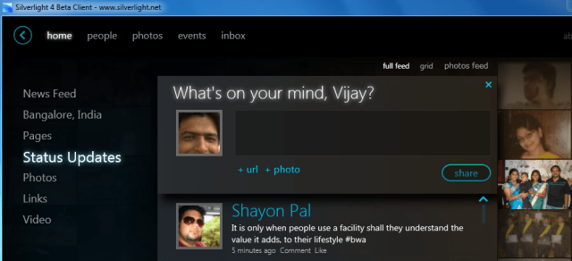 Silverlight Client for Facebook - whats on your mind?