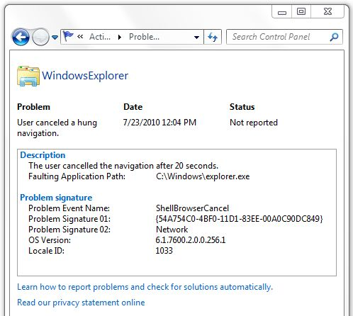 WindowsExplorer Hung Error Information