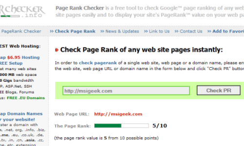 Check Page Rank using prchecker.info