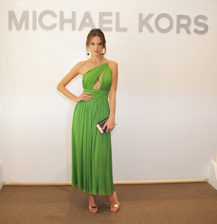 Alessandra-Ambrosio-Green-Michael-Kors-Dress