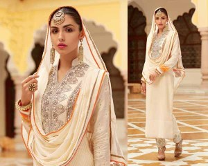 Cream Banarasi Jacquard semi-stitched embroidered salwar kameez