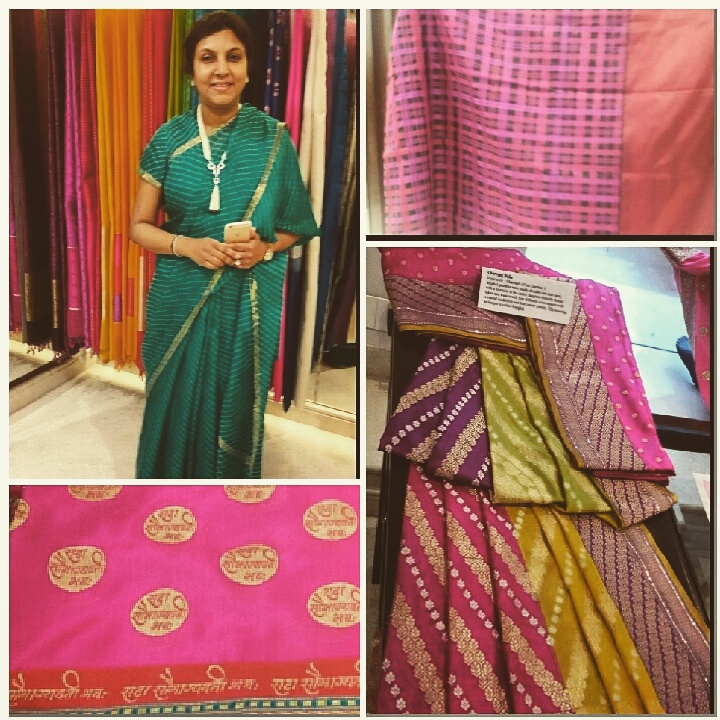 Designer Vidhi Singhania with her exclusive hand woven creations
