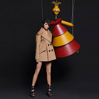 Kendall Jenner starring in the 'Arty Puppets' campaign for the Fendi FW15 collection shot by Karl Lagerfeld