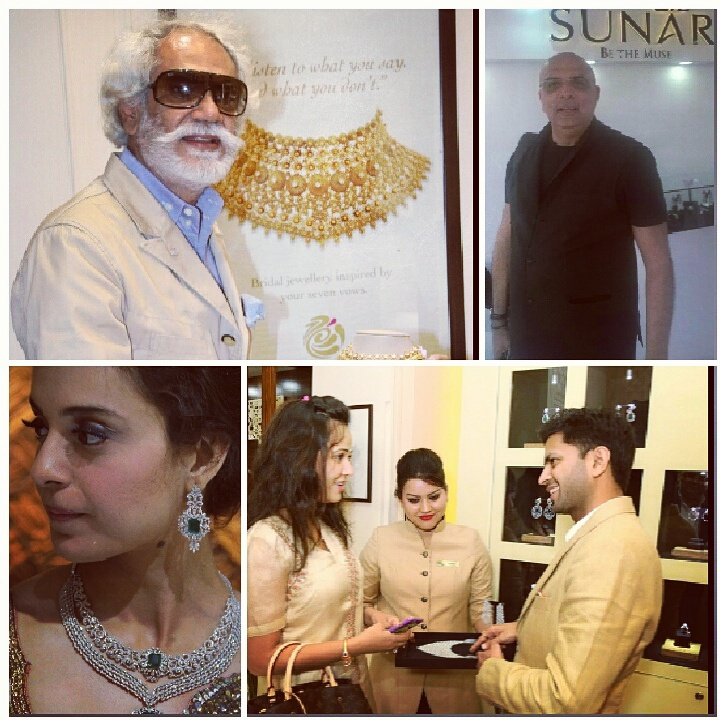 The launch of Sunar jewellery's new store at One Style Mile, Mehrauli, was a glittering affair and we spotted some fashion forward celebrities from the capital checking out their latest collection. (Clockwise from left top) The big daddy of fashion and FDCI president Sunil Sethi, couturier and czar of drapes, Praveen Goel of Sunar and actress Kangana Ranaut -- they all stopped by the new luxe store and picked their favourite pieces for festivals. Do check it out if you are looking for some exquisite ornaments for this bridal season. #sunar #gold #neckpieces