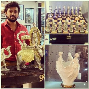 (Left) Praveen Rao of Dolphin Group, (right) a sterling silver chess set and a porcelain show piece
