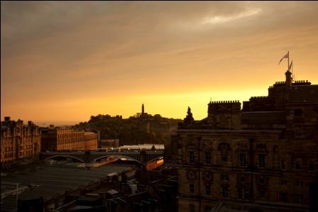 Evening view of Edinburgh from Calton Hill, Edinburgh, Lothian, Scotland