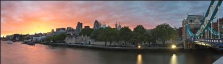 Sunset over London skyline and River Thames from Tower Bridge, London, England, UK