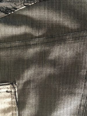 silver grey astic pants back side