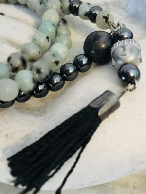 mskyh BUDDHISM PEARLS MALA108 transparent metal