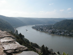View of the Rhine River from the Marksburg Castle, Germany