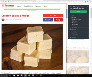 Using the Web Clipper to Save a Recipe
