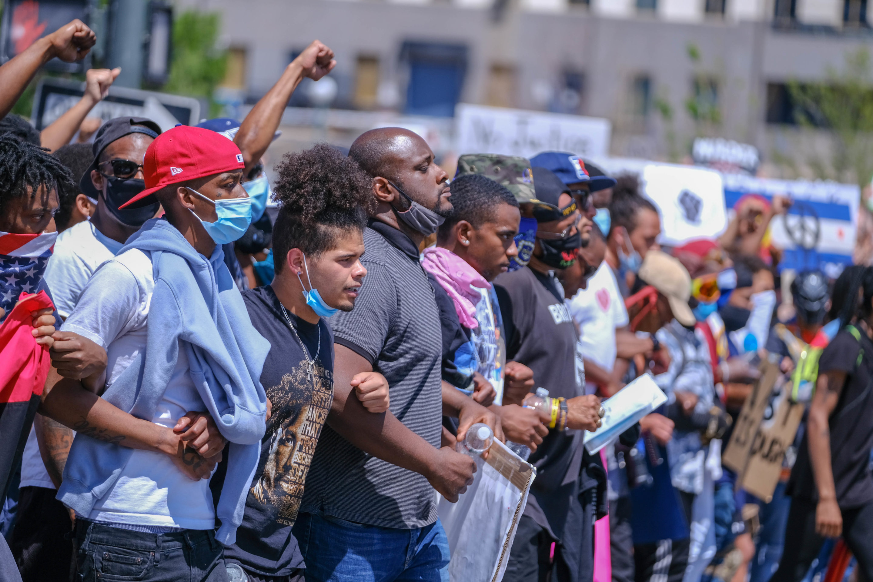Anderson leads peaceful march, condemns rioting in Saturday protest