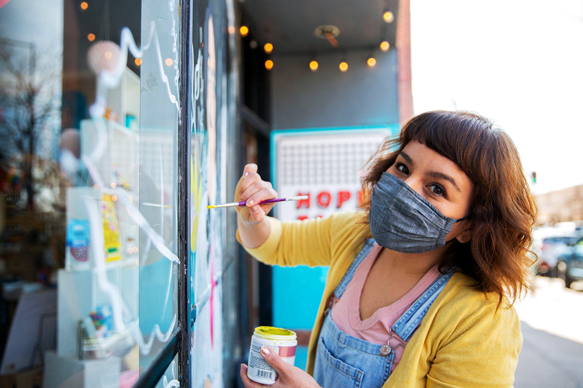Hope Tank kicks off year of window murals with piece by artist Cindy Loya