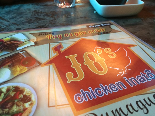 Jo's chicken Inato menu