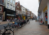 Groningen street with bikes and stores